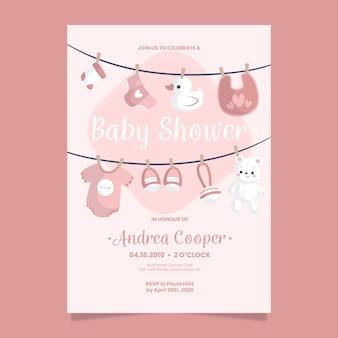 女の赤ちゃんのベビーシャワーの招待状のテンプレート