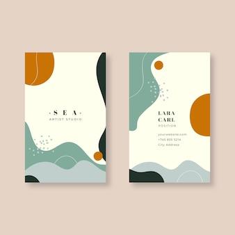 Шаблон визитной карточки в абстрактном стиле окрашены
