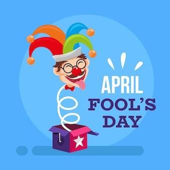 Плоский дизайн апрель дураков день иллюстрация с шутом