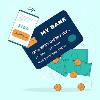 Концепция возврата денег с помощью смартфона и кредитной карты