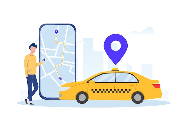 Концепция приложения такси проиллюстрирована