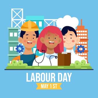イラスト入りの労働者の日
