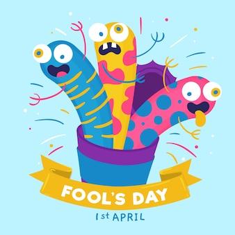 Нарисованная рукой иллюстрация дня дурачков в апреле с смешными греет