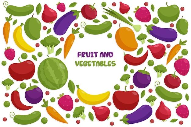 背景スタイルの果物と野菜