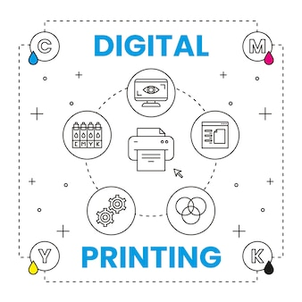 Концепция цифровой печати с элементами