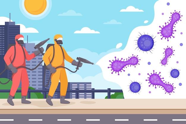 Люди в защитных костюмах от вирусной дезинфекции