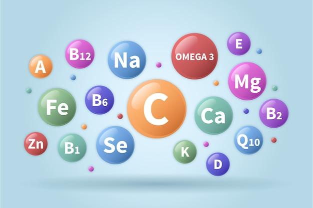 泡の中の必須ビタミンとミネラルの複合体