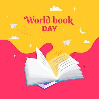 フラットなデザインの世界の本の日