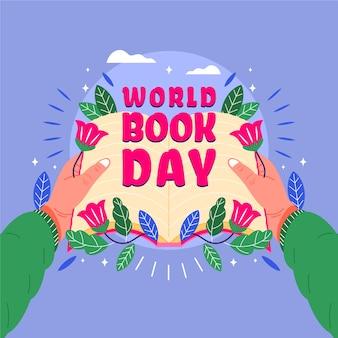 Всемирный день книги с человеком, держащим открытую книгу