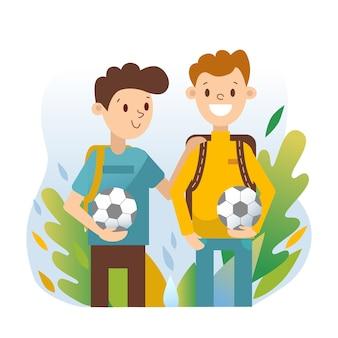 Молодые люди с футбольными мячами