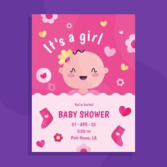 イラストの女の子のためのベビーシャワーカード