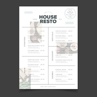Домашний ресторан винтажное меню шаблон