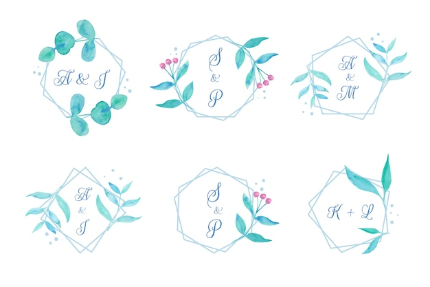 花の結婚式のモノグラム