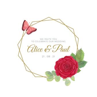 結婚式の花のフレーム