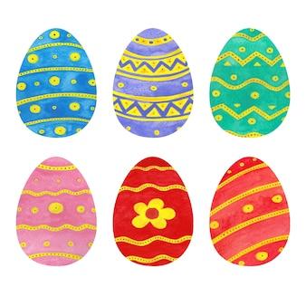 Коллекция акварельных пасхальных яиц
