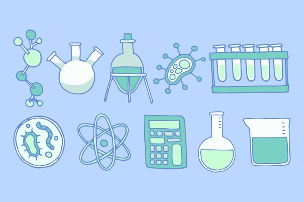 科学実験室のオブジェクトセット