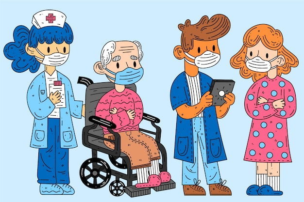 医療マスクを着ている人々のグループ