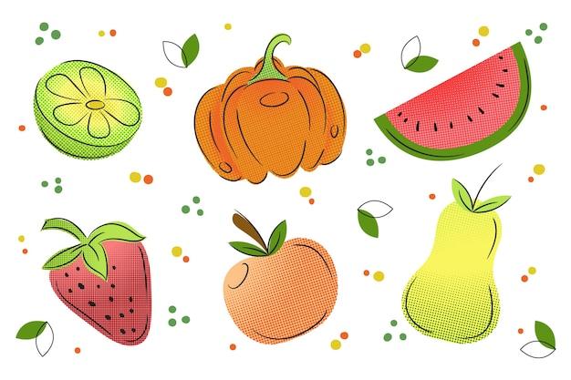カラフルなハーフトーンで果物や野菜の背景を概要します。