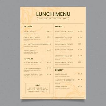Шаблон меню ресторана ретро здоровой пищи