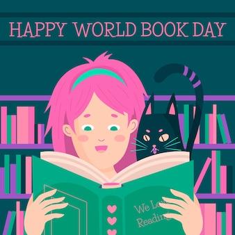 Ручной обращается всемирный день книги иллюстрации