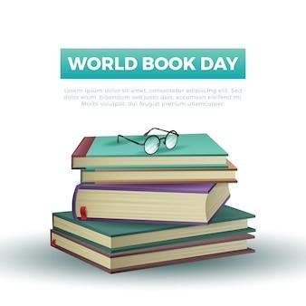 Реалистичный стиль всемирного книжного дня