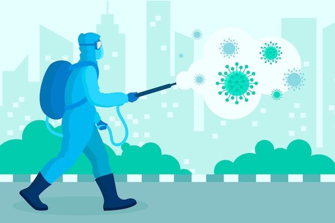 青い防護服を着た男性とウイルス消毒