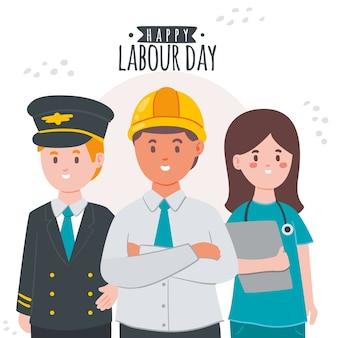 手描きの労働者の日とキャラクター