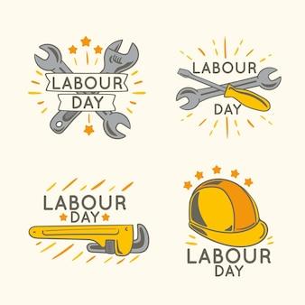 手描きの労働者の日バッジコレクション