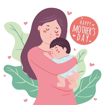 手描きの母親が彼女の子供を抱いて