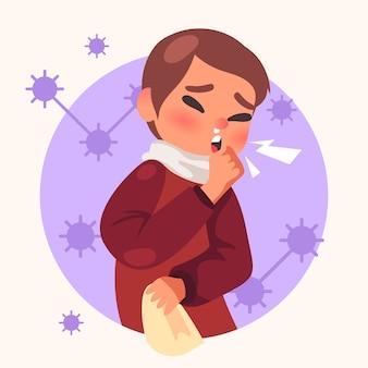 Женщина с простудой в окружении бактерий