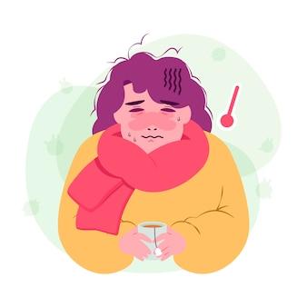 風邪のイラストを持つ人