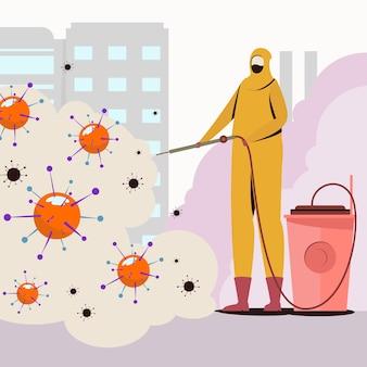 黄色の防護服を着た男性とウイルスの消毒
