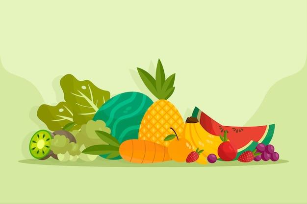 Фрукты и овощи фон концепция