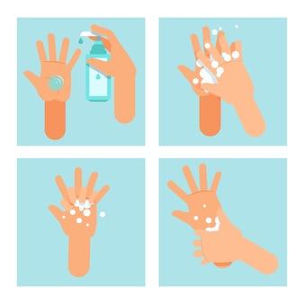 Шаги по правильному использованию дезинфицирующего средства для рук