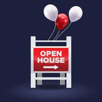 Дизайн знака открытых дверей недвижимости