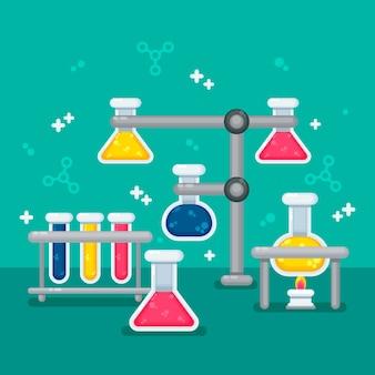 Плоский дизайн научной лаборатории канцелярские принадлежности