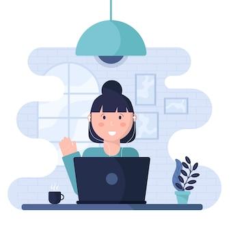 女性と在宅勤務のコンセプト