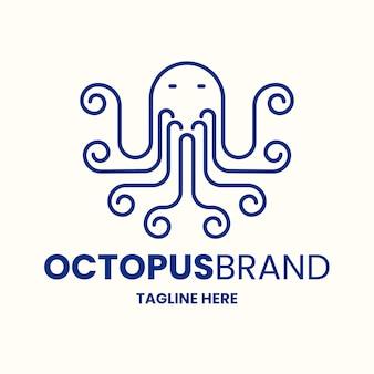 Ручной обращается дизайн логотипа осьминога