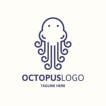 Ручной обращается стиль логотипа осьминога