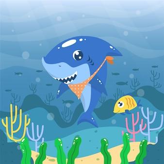 バンダナとフラットなデザインの赤ちゃんサメ