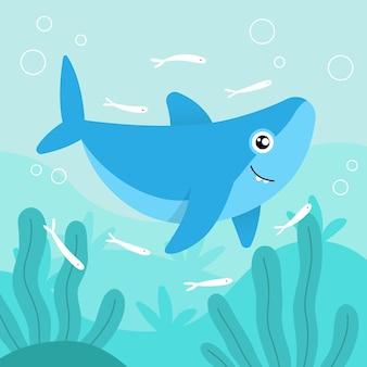 フラットなデザインの赤ちゃんサメと小さな魚