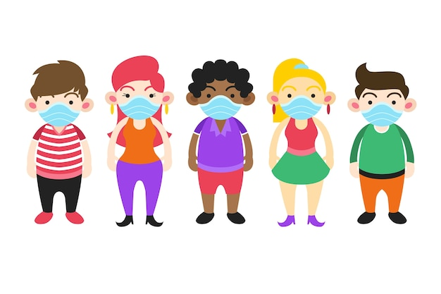 子供たちが立って、医療用マスクを着用