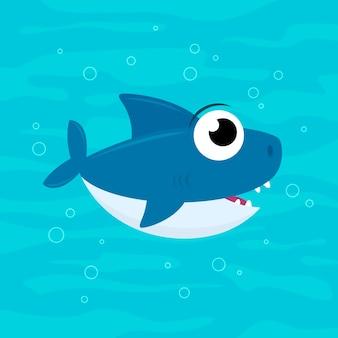 漫画のスタイルでフラット赤ちゃんサメ