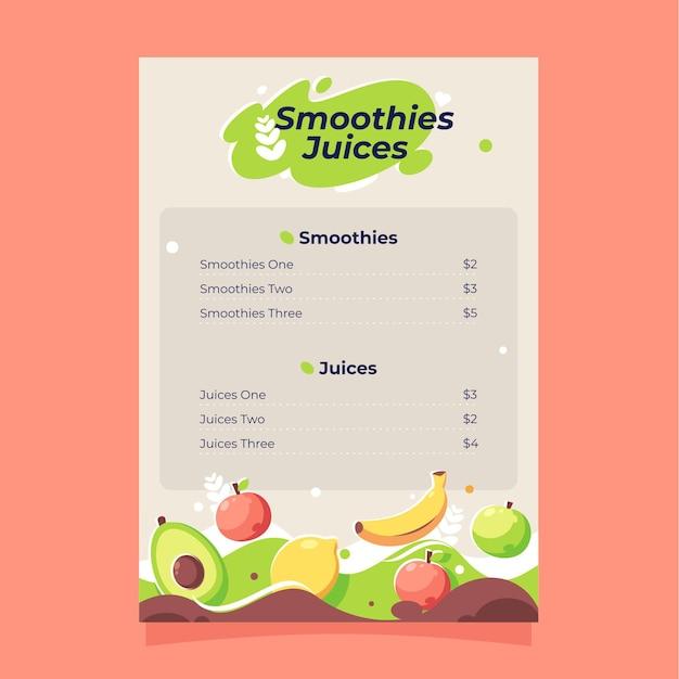 Подробное меню ресторана здоровой пищи с иллюстрацией
