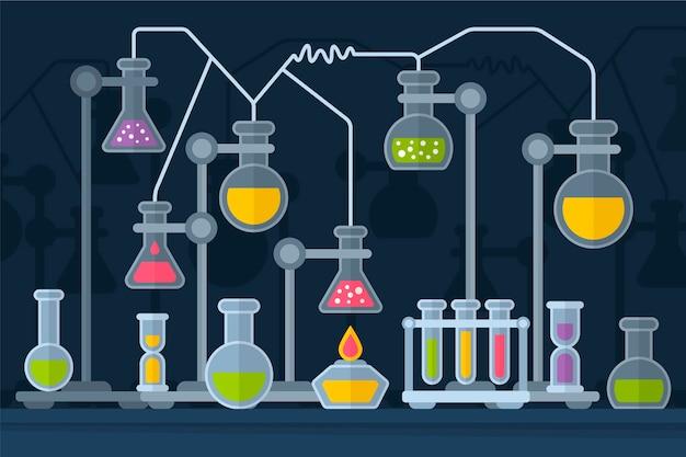 フラットデザインの科学実験室の化学ガラス製品