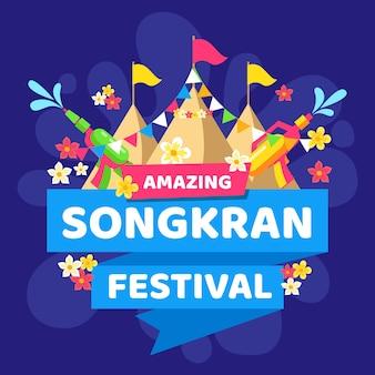 Плоский дизайн сонгкран фестиваль тема