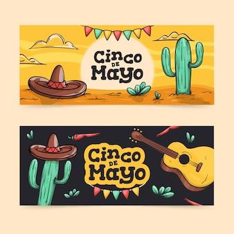 Ручной обращается синко де майо баннеры шаблон