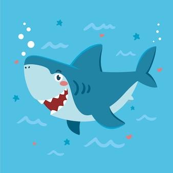 漫画のスタイルでフラットなデザインの赤ちゃんサメ