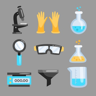 Объекты научной лаборатории, изолированные на фоне