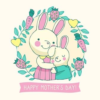 День матери иллюстрированный рисунок